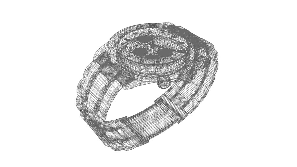 high-poly 3d watch model