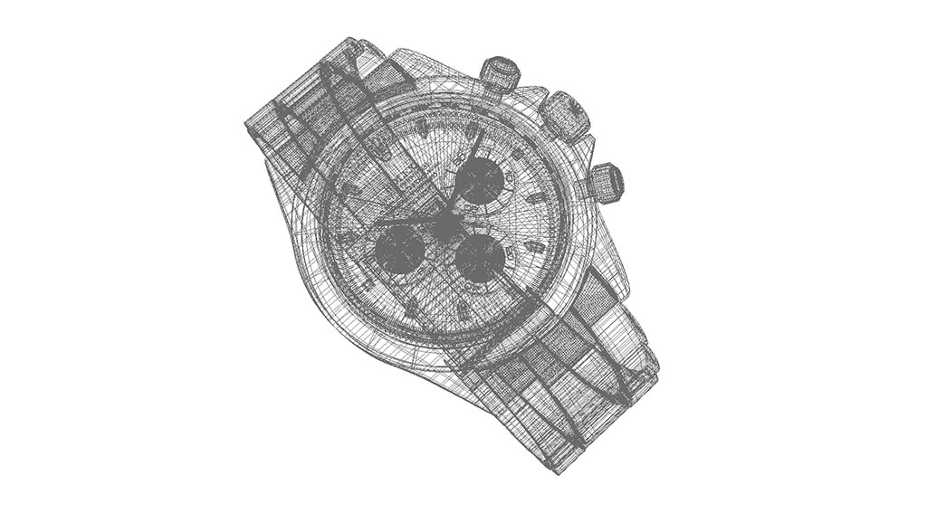 3d watch wireframe