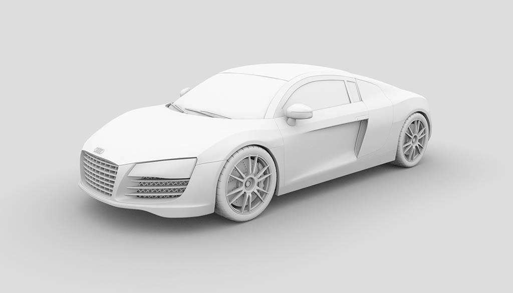 Audi R8 3d model ambient occlusion