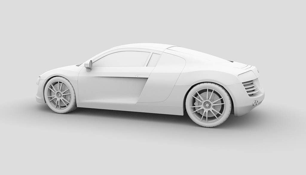 Audi R8 3d model ambient occlusion rendering