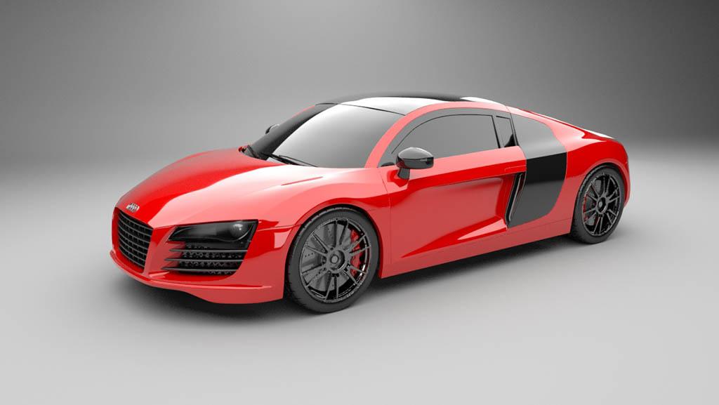 Audi R8 3d model fully rendered