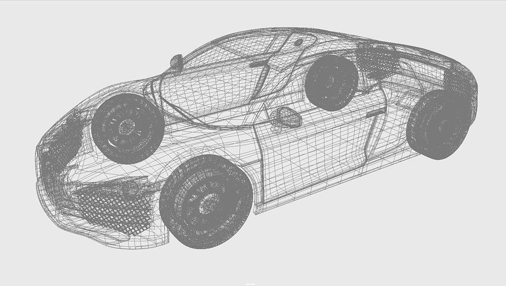 Audi R8 3d model wireframe