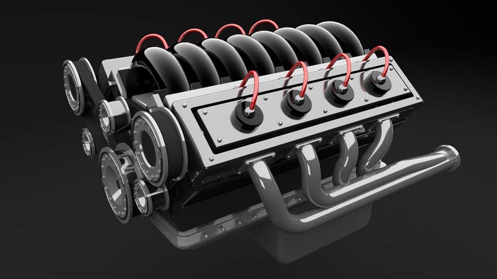 V8 engine model front 3/4 rendering