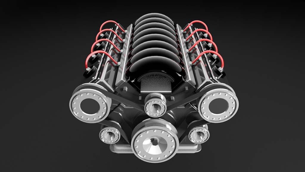 V8 engine model front view rendering