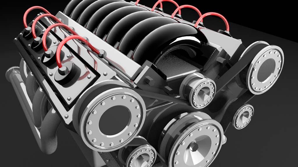 V8 engine model close up detail