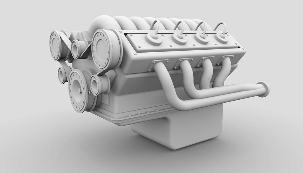 V8 engine model ambient occlusion rendering