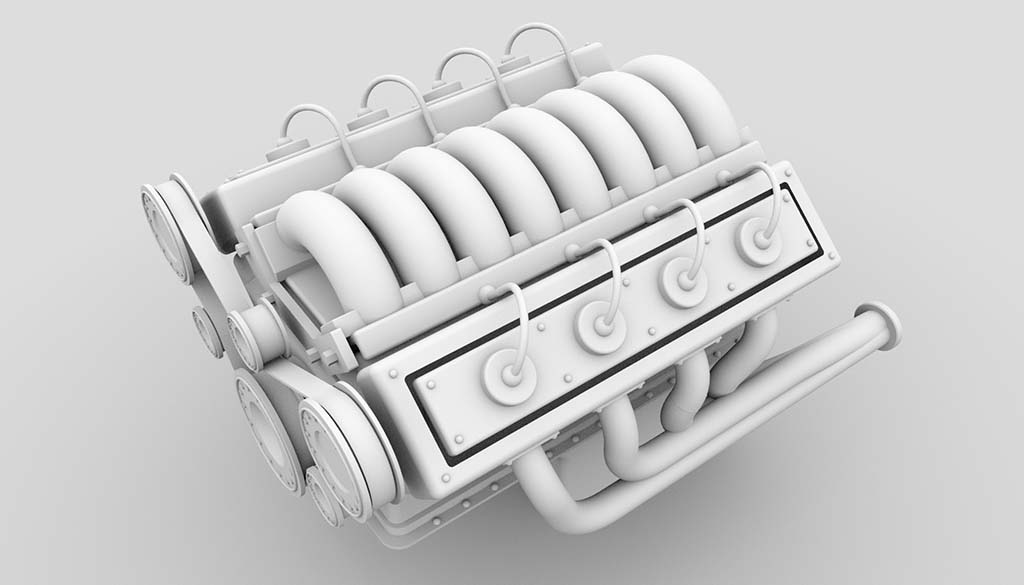 V8 engine model ambient occlusion rendering - top down view
