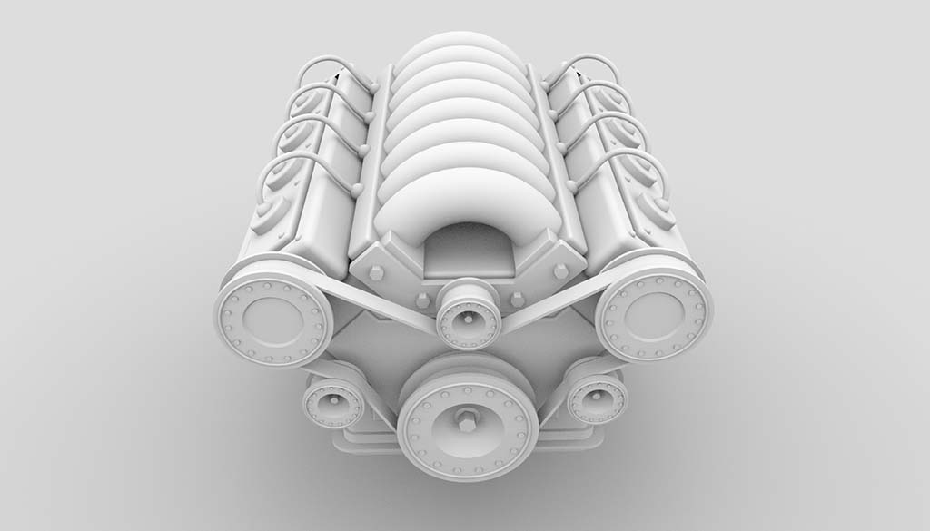 V8 engine model ambient occlusion rendering - front view