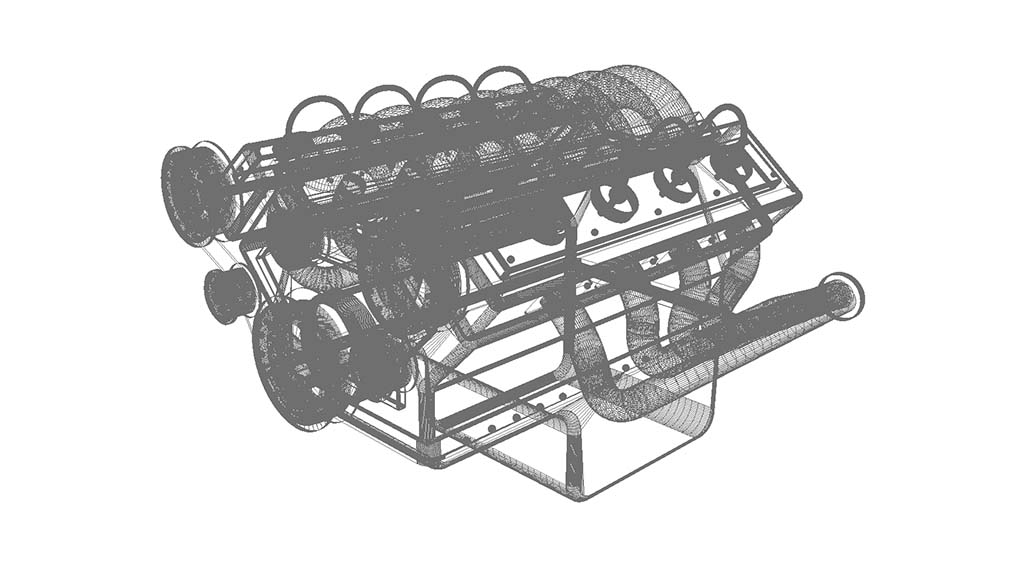 V8 engine model wireframe