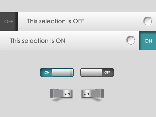 Photoshop on and off toggle switches